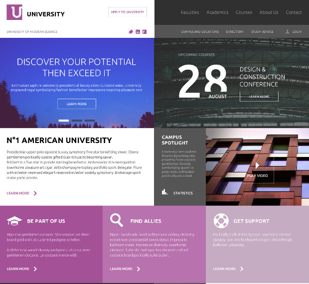 education flat ui psd template