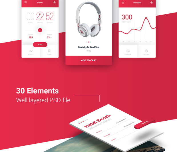 30 Elements Free UI Kit