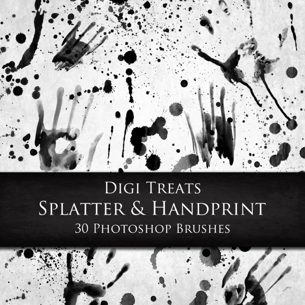 30 Photoshop Hand Printed Brushes