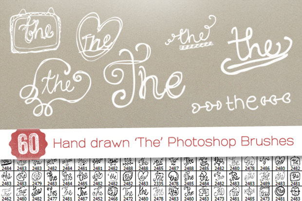 60 Hand drawn Word Lettering Brushes
