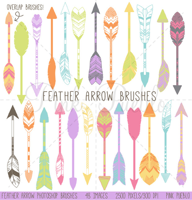 colorfull feather arrow brushes