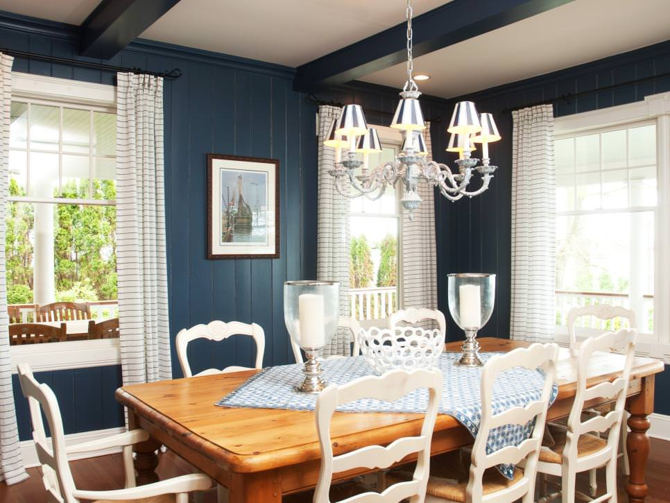 23 french country dining room designs decorating ideas for Navy dining room ideas