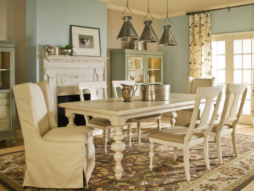blue and brown french country dining room design - Country Dining Rooms