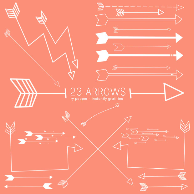 23 unique arrow brushes