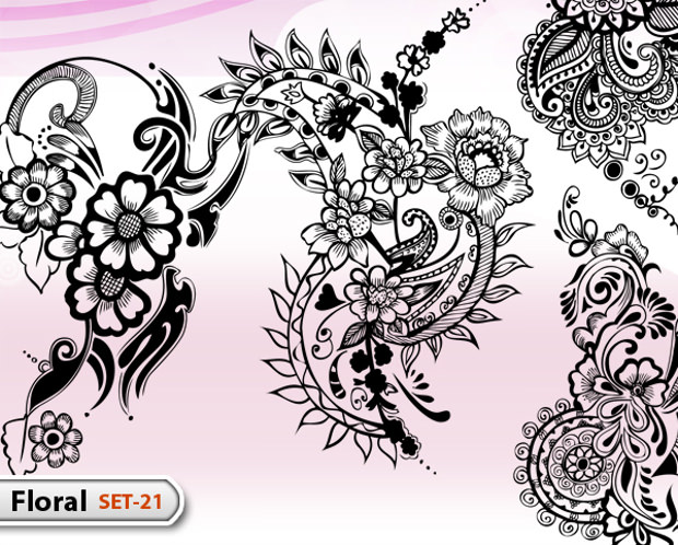 Hand Drawn Floral Ornaments Vector illustration and Photoshop Brush