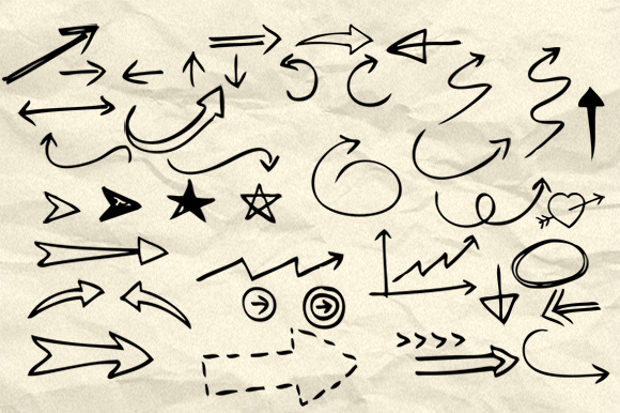 90 Hand Drawn Creative Arrow and Symbol Brushes