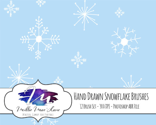 12 Hand Drawn Brushes for Snowflakes