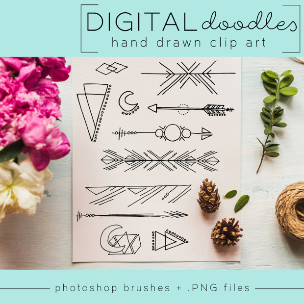 geometric hand drawn arrow brushes