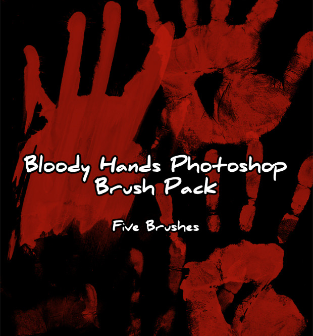 Photoshop Brush Pack of Bloody Hands
