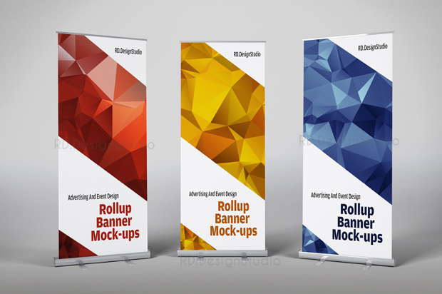 roll banner mock up psd download