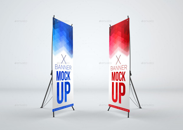 x banner mock up psd download