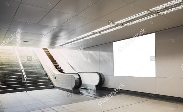 billboard mock up in subway with escalator
