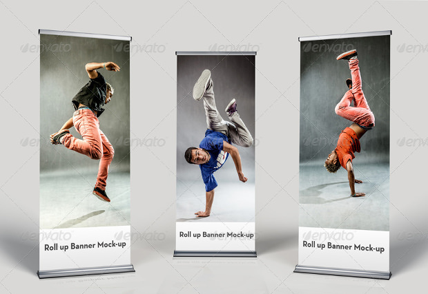 stylish roll on banner mock up