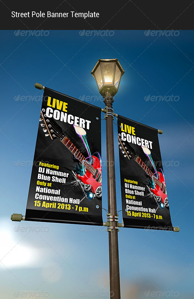 Street pole Banner mock up Download