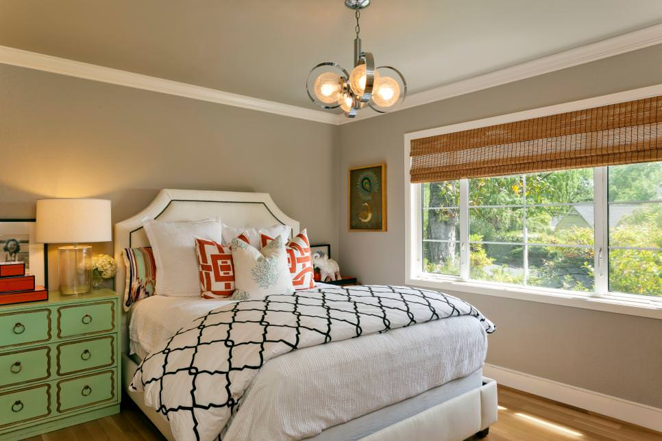 Gray Bedroom Features Funky Chandelier