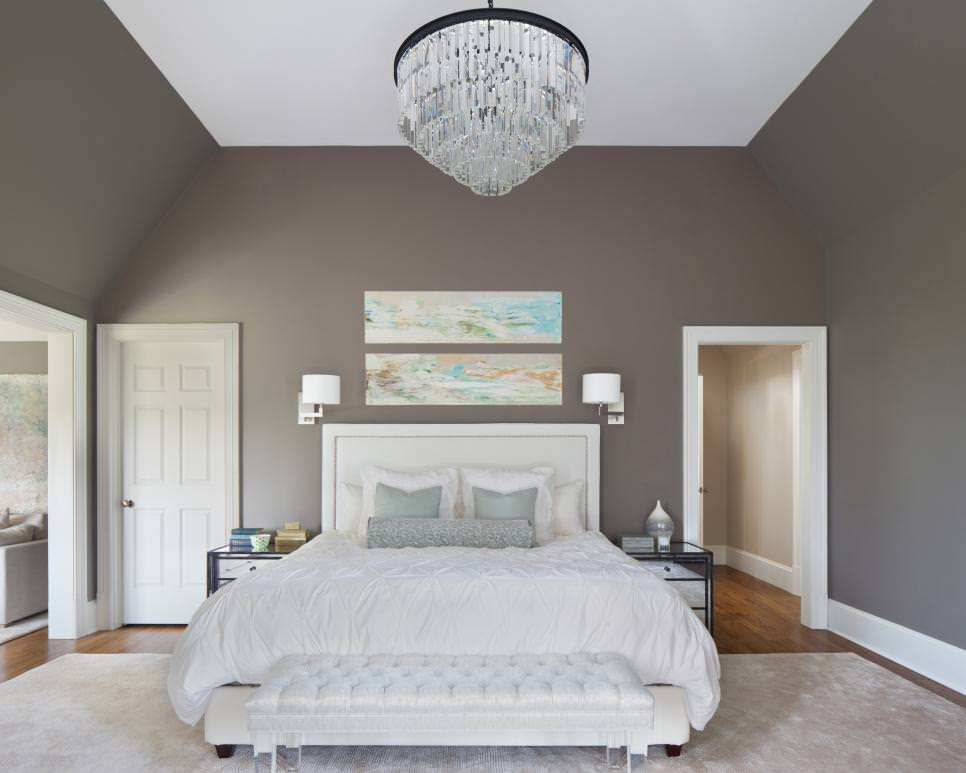 Gray Bedroom With Glamorous Chandelier