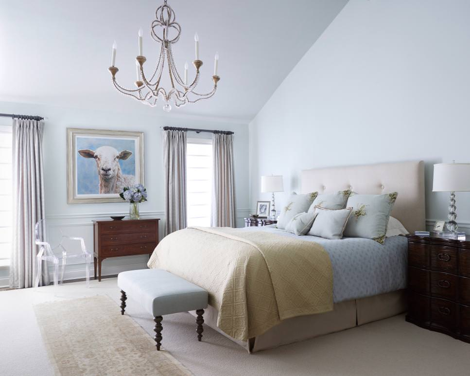 Master Bedroom with Elegant Chandelier