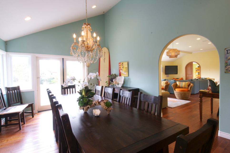 Blue Transitional Dining Room With Chandelier