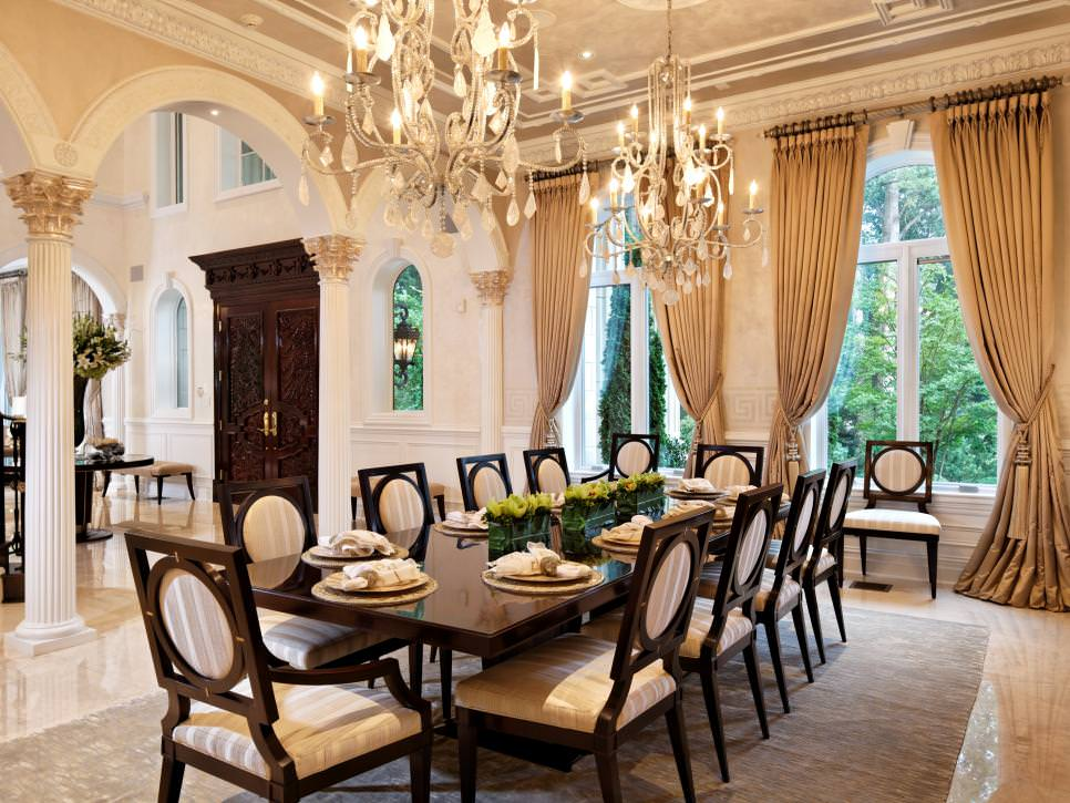 Dining Room With Double Chandeliers