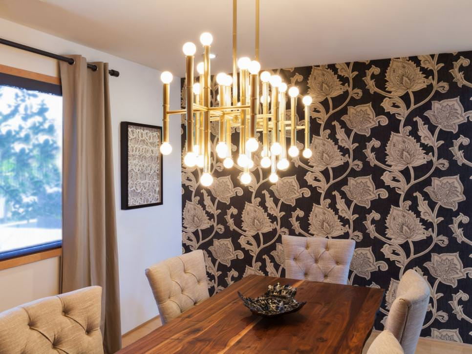 dining room with modern brass chandelier