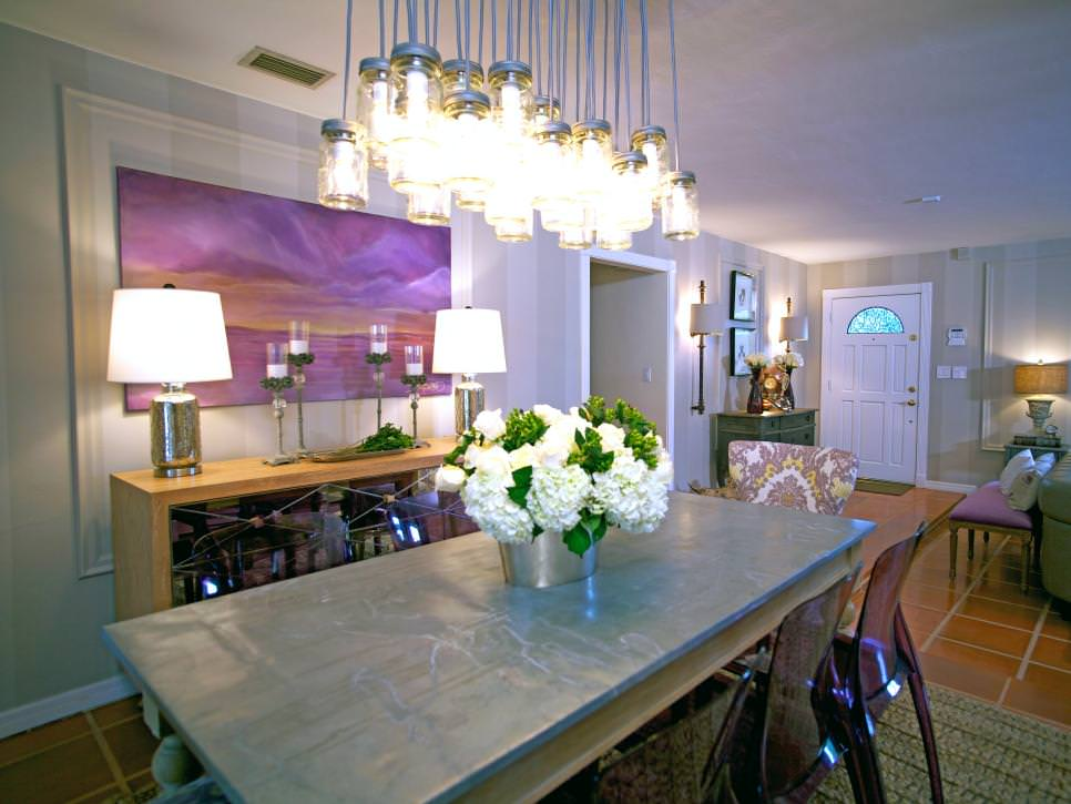 Dining Room with Mason Jar Chandelier
