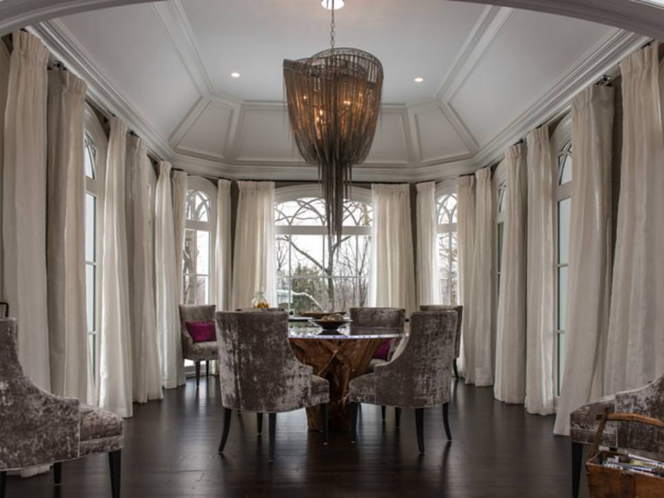 Grand Dining Room With Dramatic Chandelier