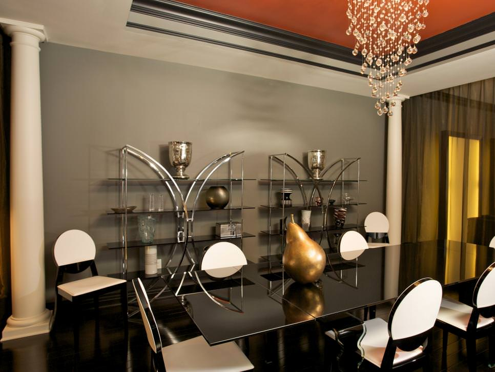 Gray Dining Room With crystal Chandelier