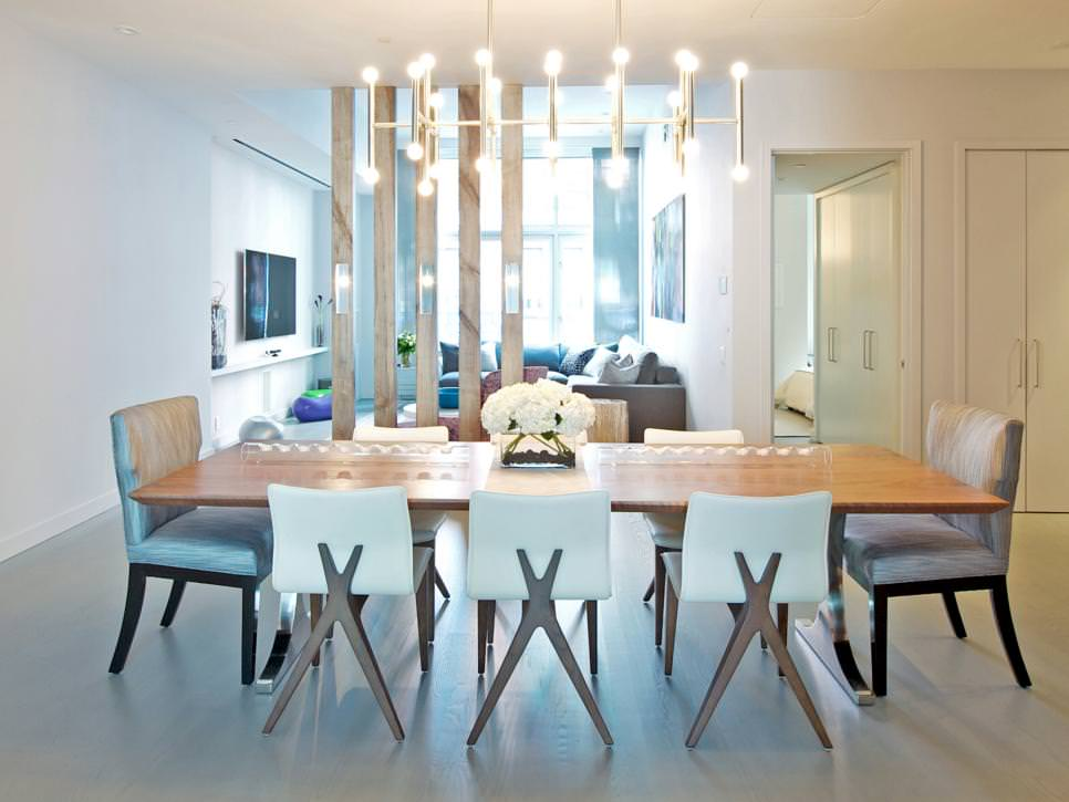 modern white dining room with chandelier - Contemporary Dining Room Chandeliers