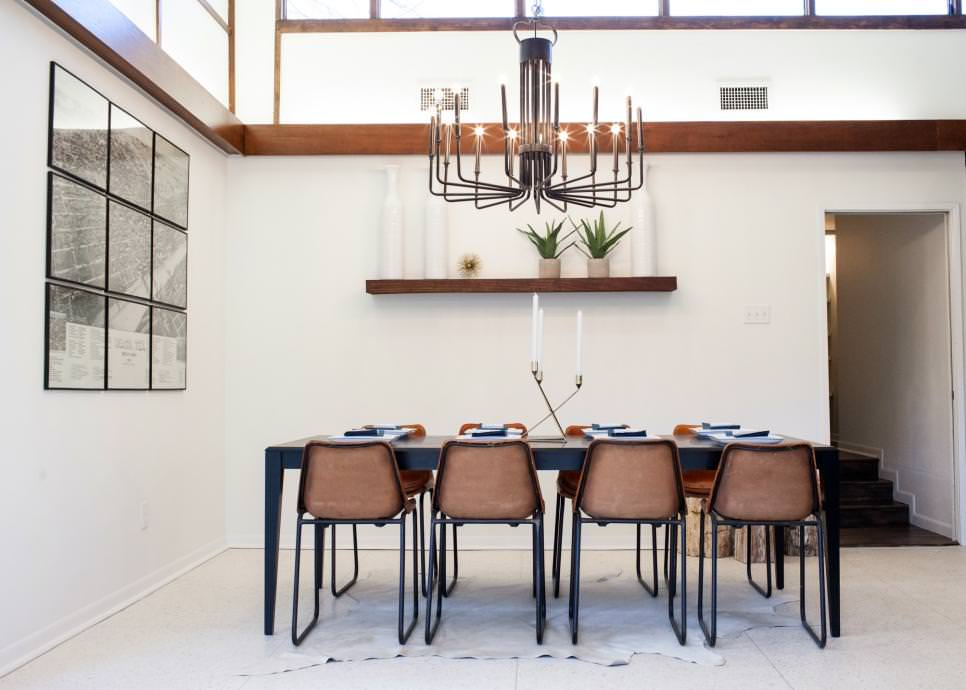 Remodeled Dining Room With Chandelier