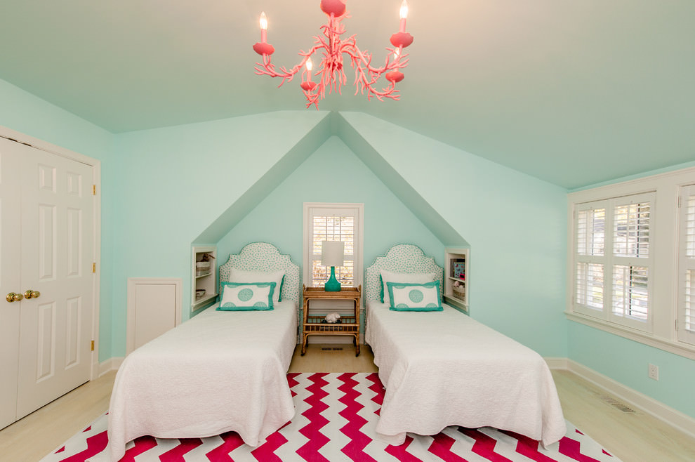 Beach Style Kids Room With Simple Pink Chandelier