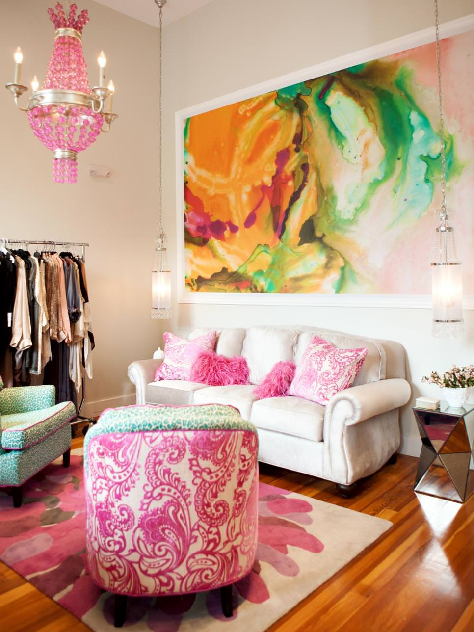 bright eclectic living room pink chandelier