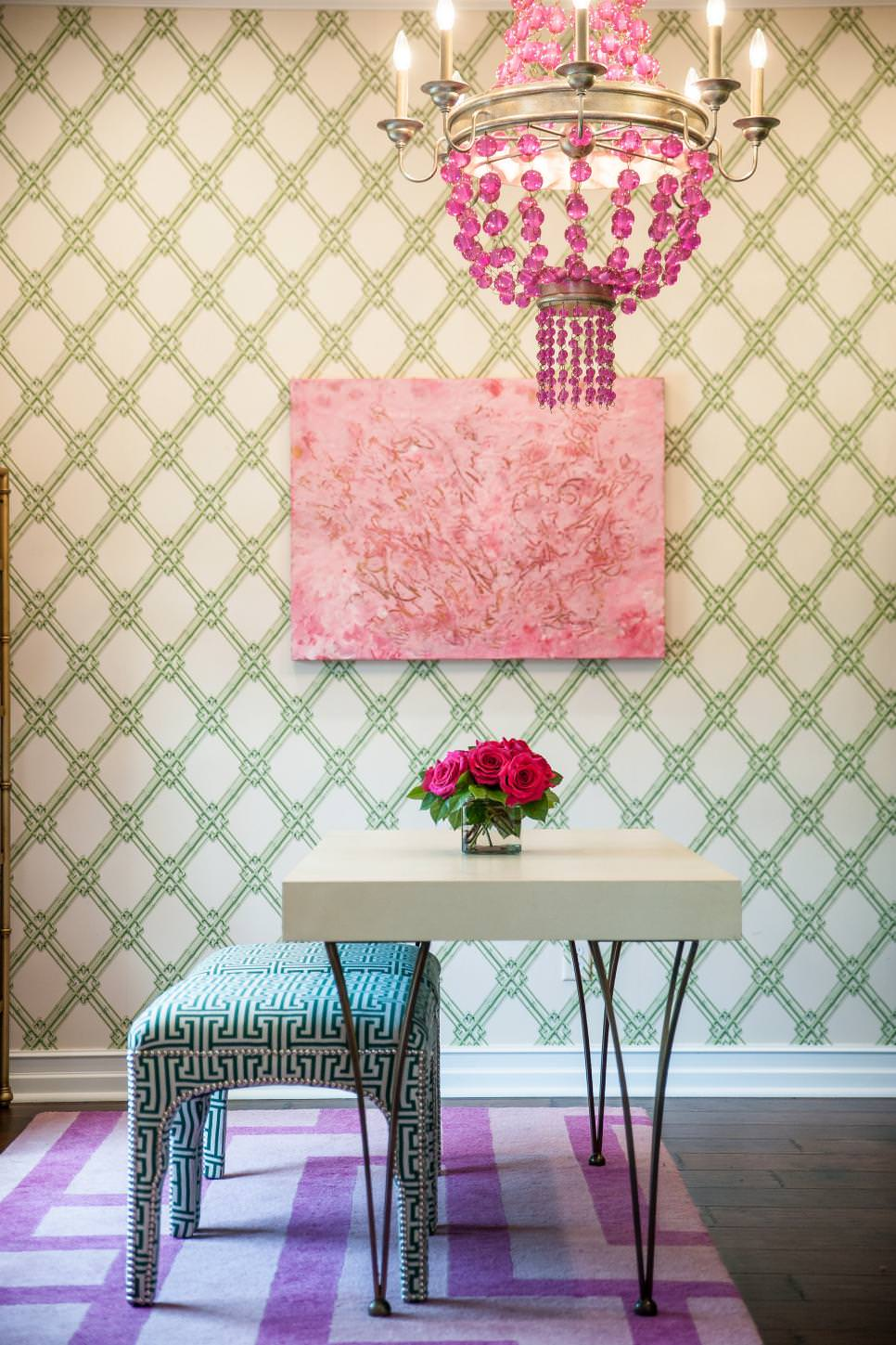 bright living room pink chandelier