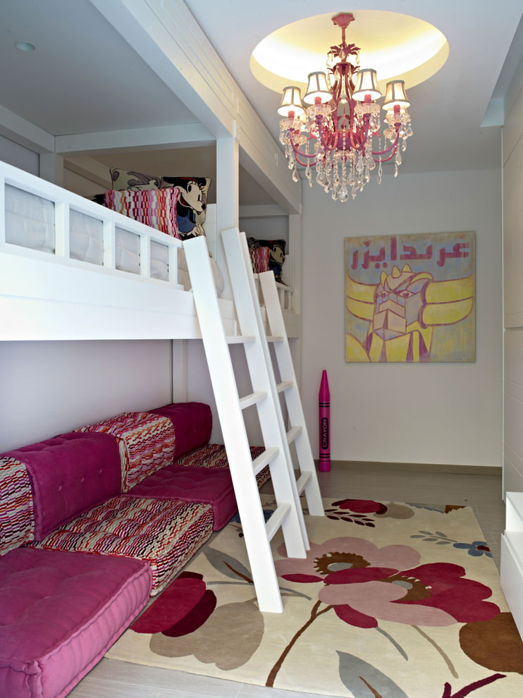 contemporary kids room with pink crystal chandelier