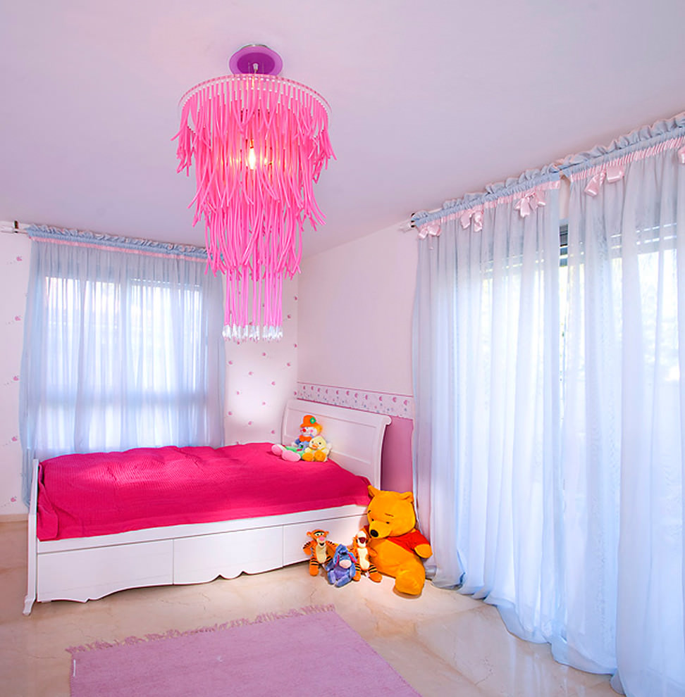 contemporary kids room with pink designed chandelier