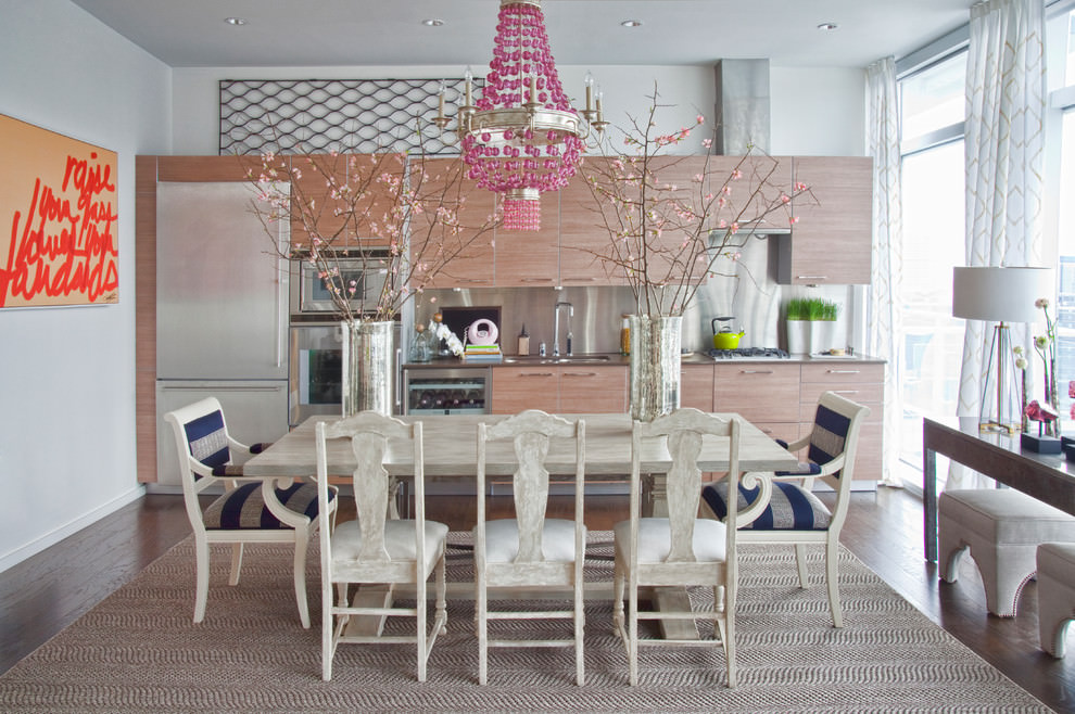 contemporary kitchen with pink chandelier