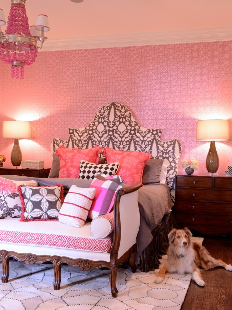 eclectic bedroom with pink chandelier