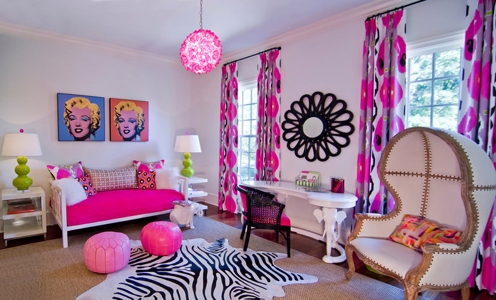 eclectic kidsroom with designed pink chandelier