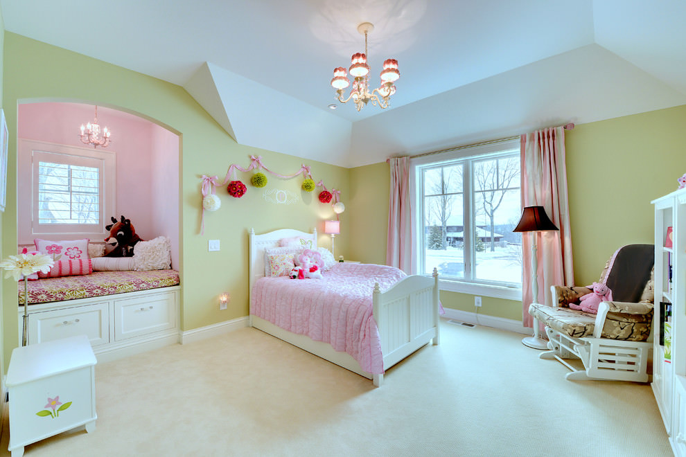 Traditional kids room with elegant pink chandelier