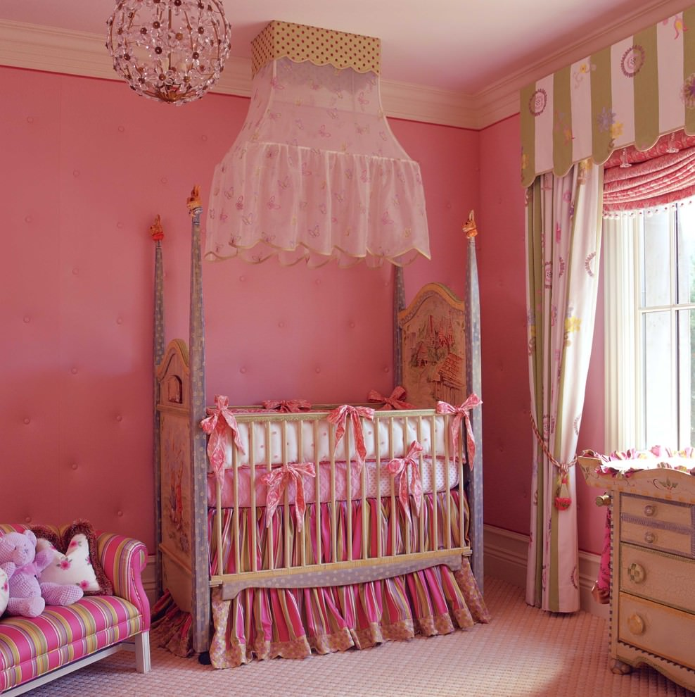 Traditional nursery room with elegant pink chandelier