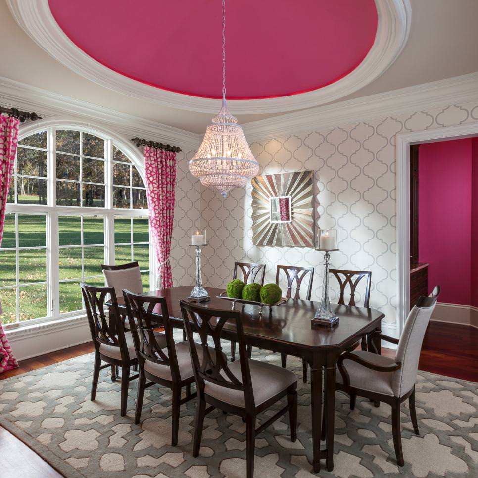 White Transitional Dining Room Light pink chandelier