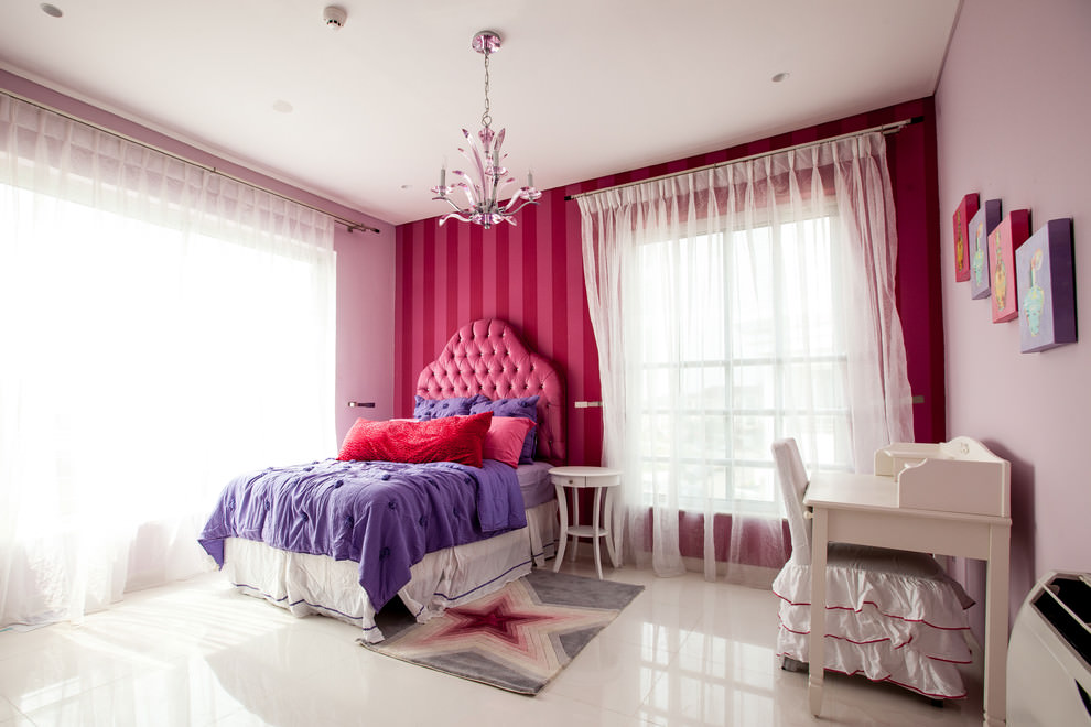 kids room with light pink designed chandelier