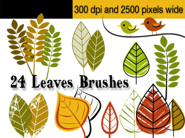 24 Photoshop Leaf Brushes