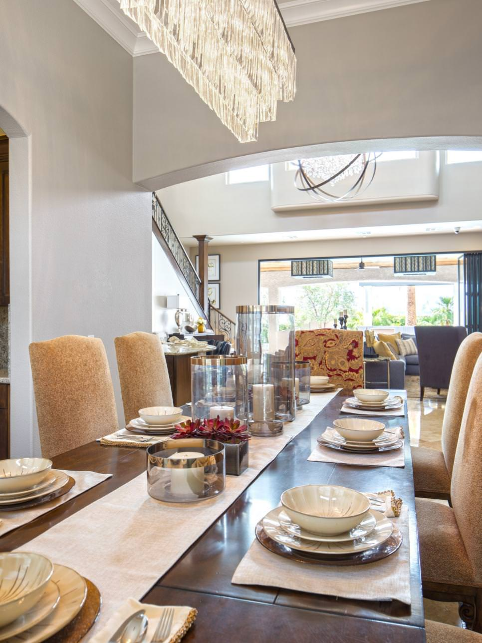 Luxe Dining Room rectangular chandelier