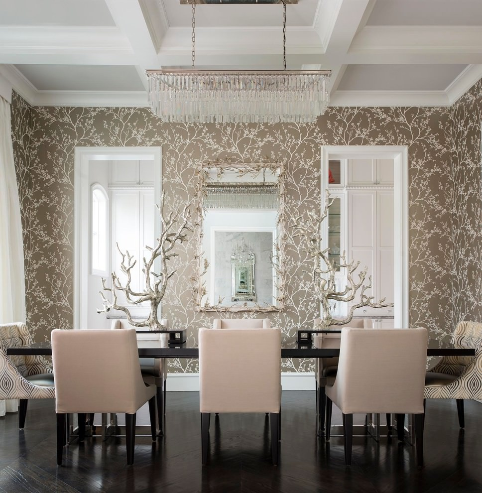 Mediterranean dining room with rectangular chandelier