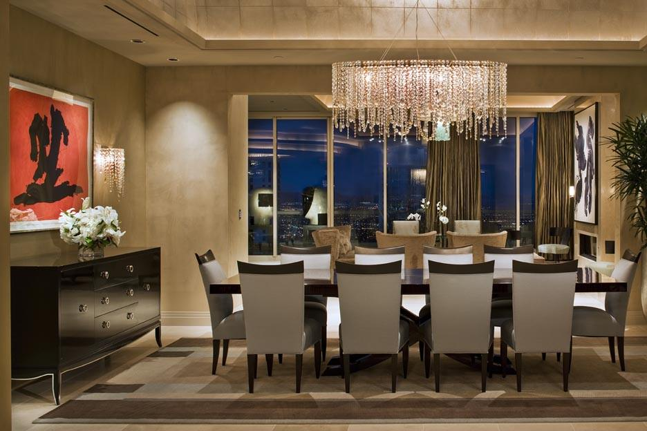 modern dining room with rectangular crystal chandelier