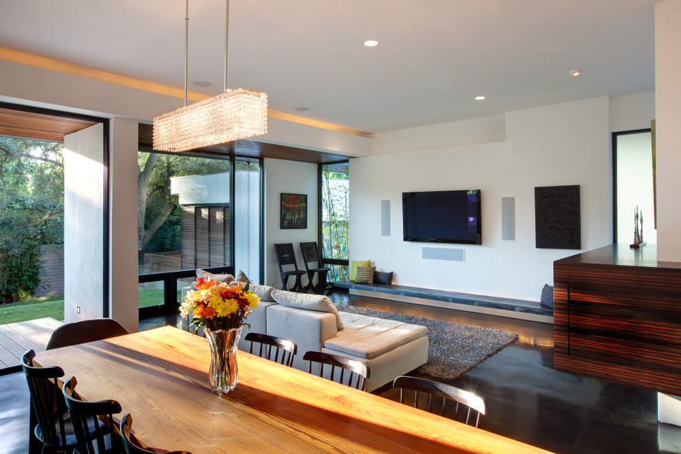 Modern living room with rectangular chandelier