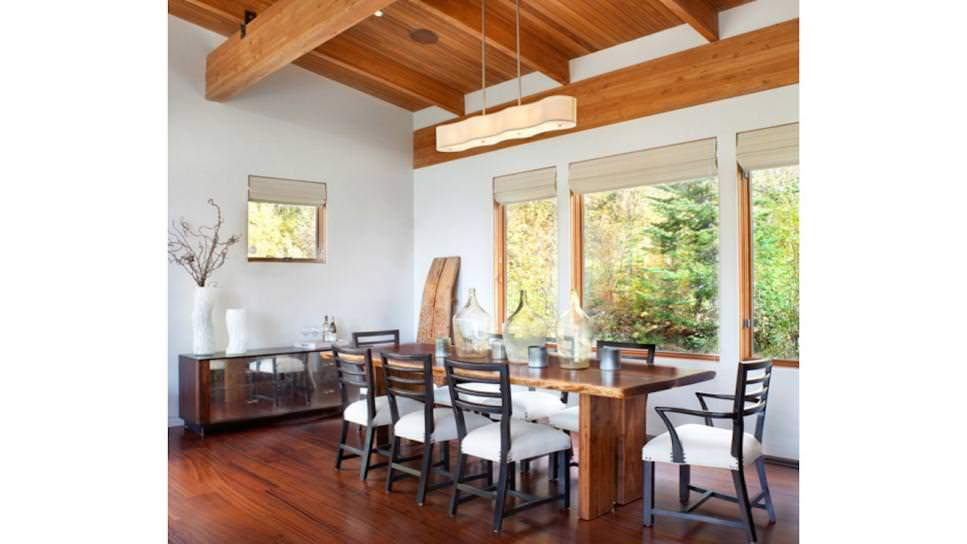 neutral country dining room with rectangular lighting chandelier