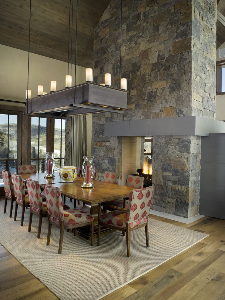 nice dining room with rectangular chandelier