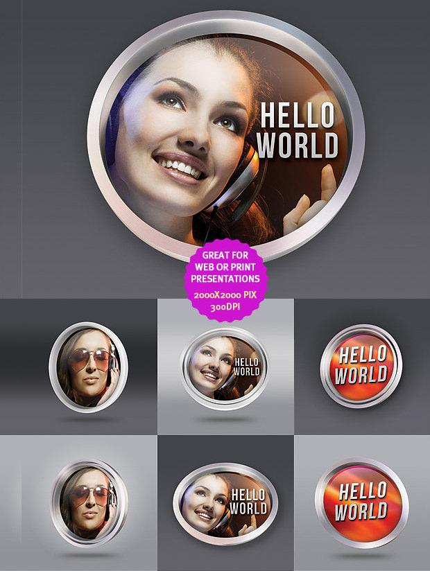 Round PSD Frame Templates & Mockups