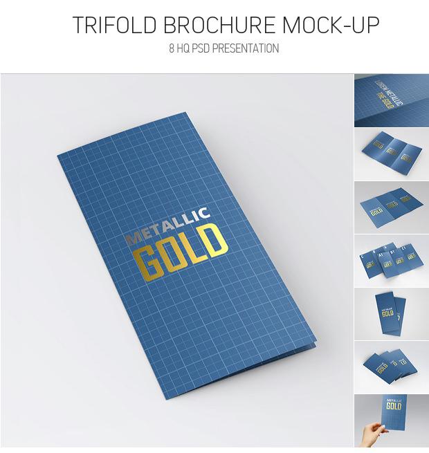 Golden Letterpress Trifold Brochure Mockup